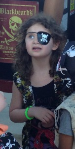 My little pirate, who was serious about her pirate skills.
